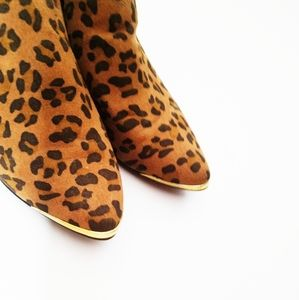 City Classified Leopard Gold Tip Ankle Boot